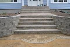 Grey Cornerstone block retainer wall steps