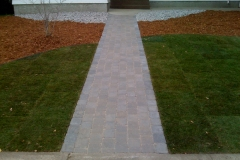Rustic Roman Euro paving stone sidewalk with charcoal border