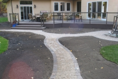 Dessert Buff Roman Euro paving stone sidewalk with rustic border